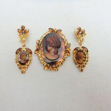 DeLizza & Elster Juliana Brown Tortoise Cameo Brooch & Dangling Earrings Set