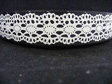 "1"" (25mm) Grosgrain Ribbon - By the Metre - #4065 Black Lace"