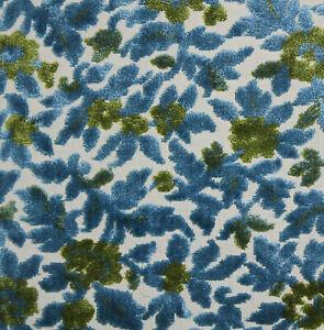 "Vintage Cut Velvet BLUE & GREEN Floral Leaves Chenille Upholstery Fabric 54""x34"""