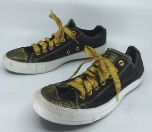 Converse All Stars Ox Black & Gold M9 W11 As New Only Worn Once New Laces