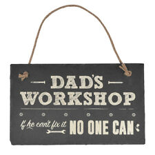 Dad's Workshop Hanging Slate Plaque Sign Gift New Say It With Slate Range