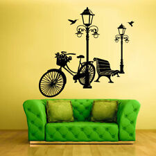 Wall Vinyl Sticker Bedroom Decal Park Bicycle Flowers (Z1033)