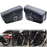 2x Solo Bag Swingarm Leather Saddle Bag Storage For Harley Sportster XL 883 1200