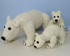 PRINTED INSTRUCTIONS- POLAR BEAR FAMILY - ANIMAL TOY SOFTIE KNITTING PATTERN