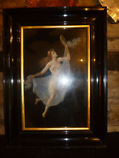 Beautiful OIL PAINTING of NAKED WOMAN Art Nouveau / PreRaphaelite / Mucha FRAMED