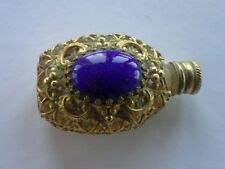 FLACON Parfum miniature - ancien 6cm doré Pierre bleue doré - VPCP