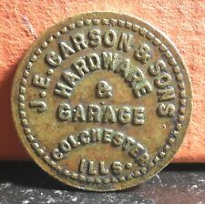 Very Rare ND J.E. Carson & Sons 1 Gallon Gasoline Colchester Ills Token