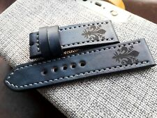 24mm Handmade leather watch strap, army, Fleur de Lis, grey color, short size