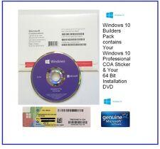 New Sealed Microsoft Windows 10 Pro Professional 64 Bit DVD | COA License Key