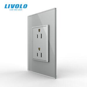 LIVOLO US AC Multi Plugs Wall Socket 2Pin Socket 15A Crystal Glass Panel Gray