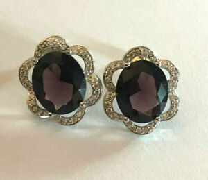 """Amethyst Earrings Rhodium Plated Oval 12x10mm CZ Halo 9 Cts Simulated .65"""" #2030"""