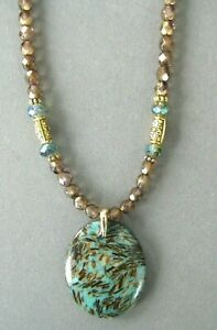 Lovely Oval Turquoise and Gold Copper Bornite Pendant with Crystal Beads