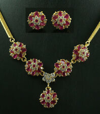 FASHION JEWELRY GEM 14K YELLOW GOLD RUBY SAPPHIRE lady NECKLACE + EARRINGS S99