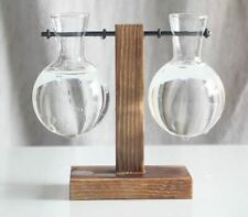 Wooden Propagation Station Hydroponic Tabletop Two Plant Vases
