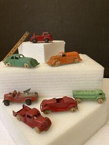 7 Vintage Tootsie Toy, Hubley & Barclay Die Cast Cars Trucks, Firetruck & Ladder