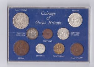 1945 Coinage of Great Britain 9 Coin Set high grade