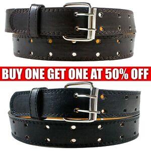 Mens Genuine Leather Casual Dress Jean Double Hole Grommet Belt Black Brown M-XL