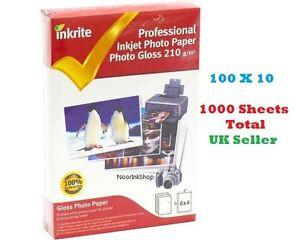 INKRITE INKJET PHOTO PAPER 1000 SHEETS GLOSS GLOSSY 210GSM 6X4 A6 Printer Shine