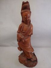 ANTIQUE FINE QUALITY CHINESE HAND CARVED WOOD GUANYIN FIGURE SCULPTURE A++NICE