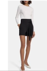 Theory Eco Crunch Belt Shorts in Black. NWT. Size 6. Retail- $255
