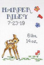 Cross Stitch Kit ~ Janlynn Baby Deer Birth Sampler #021-1918
