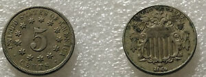 1869 USA 5 Cents Shield Nickel