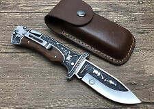 OEM Carving Blade Ebony Wood Handle Back Lock Camping Folding knife A3191