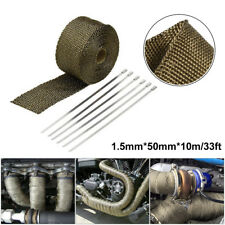 33ft Exhaust Pipe Heat Warp +6pc Stainless TiesTitanium Golden Automobile Kit