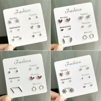 6 Pairs/Set Women Girl Pearl Crystal Heart Ear Stud Earrings Charm Jewelry Gift