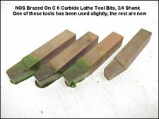 4 Lathe Carbide Tip Cutting Toolholders, C6 Carbide, 3/4 Square Shank, NOS