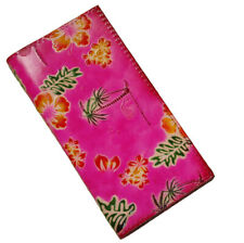 Genuine Leather Check Book Cover,Hawaii Scenery Pattern on Both Side, Pink