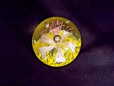 ROUND ART GLASS WHITE FLOWER CONTROLLED BUBBLE PAPERWEIGHT