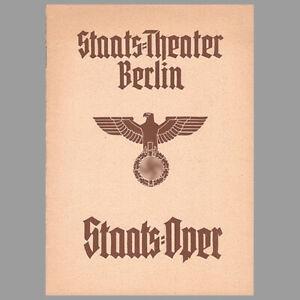 Smetana · Dalibor · Programmheft · Oper · Staatsoper · Berlin · 1940