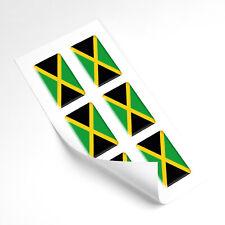 Jamaica Flag Domed Gel Stickers Car Vinyl Helmet Universal Decal 25mm x6
