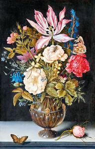 Still Life with Flowers by Ambrosius Bosschaert 75cm x 48cm Canvas Print
