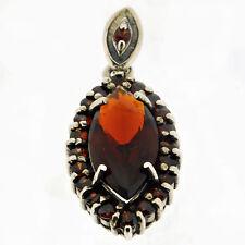 925 Sterling Silver 5.32 Carat Natural Garnet Flower Pendant