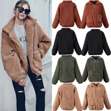 Womens Winter Warm Pocket Fluffy Coat Fleece Fur Jacket Outerwear Hoodies Wrap