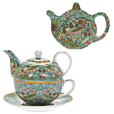 Set Of 4 William Morris Tea for One Teapot Cup Saucer And Teabag Tidy Strawberry