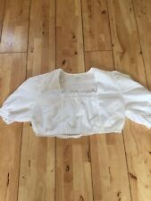 Vintage White Cropped Peasant Hungarian Blouse 12-14