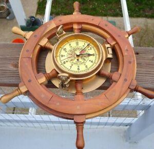 "Vintage   Chadburns Brass  Nautical  HEAVY  Wooden Ship Wheel Clock  18"""