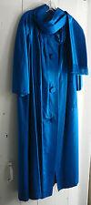 Paris Runway true vintage couture Azure blue silk starlet vamp glam coat 10-14