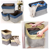 3/6Pcs Storage Baskets Foldable Linen Fabric w/ Handle Toy Clothes Organizer Box