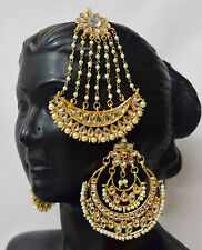 Kundan  Indian Women Pearl Bridal Jhoomer Passa Earrings Jhoomar Jewelry F8m28
