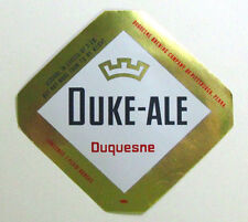 Duquesne Brewing DUQUESNE  DUKE-ALE  label PA 7 oz - Red side text
