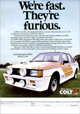 MITSUBISHI LANCER 2000 TURBO RALLY CAR RETRO A3 POSTER PRINT FROM 80's ADVERT
