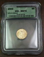2003 American Gold Eagle $5 Coin, ICG MS-70, 1/10 Oz.