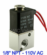 "1/8"" Pneumatic 3 Way Electric Air Solenoid Valve 110V AC Zero Differential Valve"
