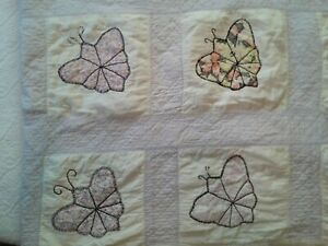 Vtg White & LIlac Handmade Quilt w Butterflies Worn & Perfectly Faded 68 x 86