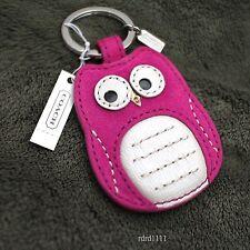 NWT Coach OWL Bird Pink Magenta Suede Leather Keychain keyring KEY FOB NEW