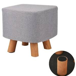 Square Grey Fabric Footstool Sofa Ottoman Foot Rest Stool Wooden Pouffe Seat